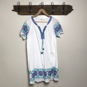 Vineyard Vines Tunic Dress White Blue Embroidery